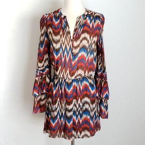 Parker Silk Chevron Ruffle Bell Long Sleeve Dress